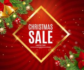 Christmas sale background red with golden frame vector