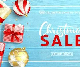 Christmas sale shop now with wooden vector