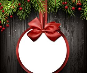 Christmas tag card with wood xmas background vector