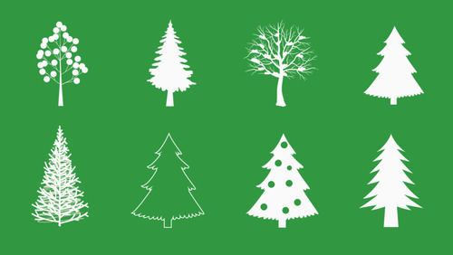 Christmas Tree Vector Image.Christmas Tree Vector Silhouette Icon Free Download