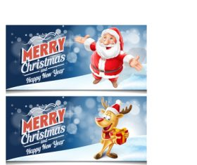 Christmas with new year festvial banners vector