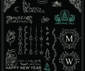 Christmas with new year hand drawn ornaments vector set 08