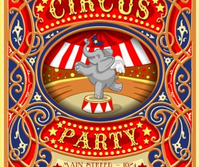Circus party flyer with poster template vector 01
