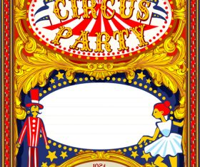 Circus party flyer with poster template vector 02