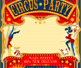 Circus party flyer with poster template vector 03