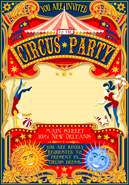 circus party flyer with poster template vector 03 free