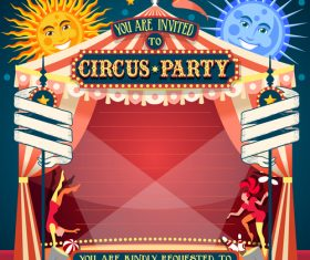 Circus party flyer with poster template vector 04