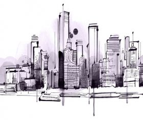 City skyline hand drawn vectors 01