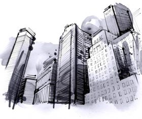 City skyline hand drawn vectors 03