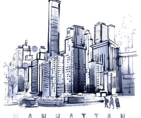 City skyline hand drawn vectors 04