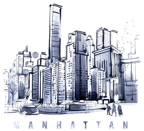 City skyline hand drawn vectors 04