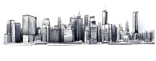 City skyline hand drawn vectors 05