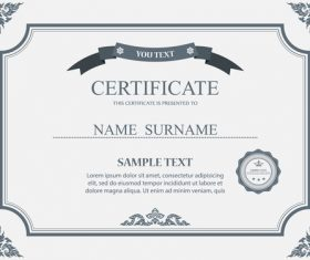 Classical styles certificates template vector 06