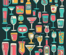Cocktails with drank pattern illustration vector 01