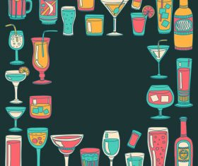 Cocktails with drank pattern illustration vector 02