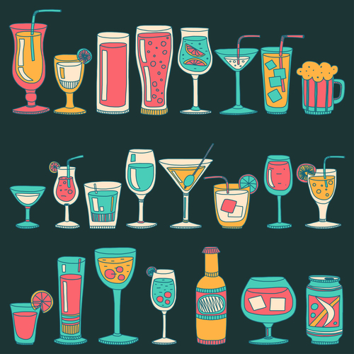Cocktails with drank pattern illustration vector 03