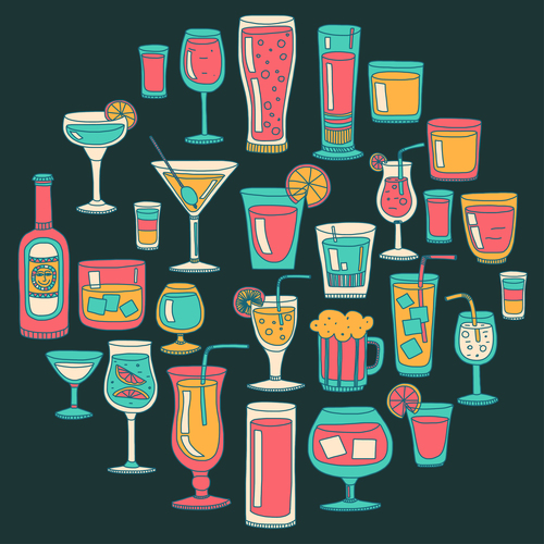 Cocktails with drank pattern illustration vector 04