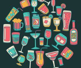 Cocktails with drank pattern illustration vector 05