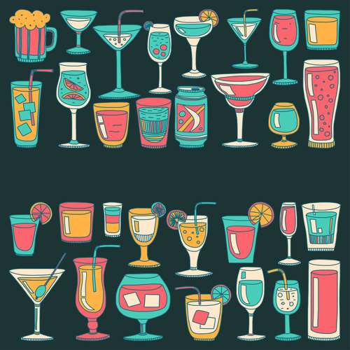Cocktails with drank pattern illustration vector 07