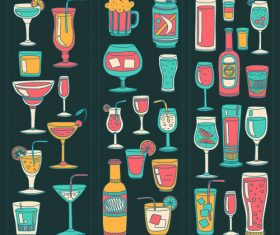 Cocktails with drank pattern illustration vector 08