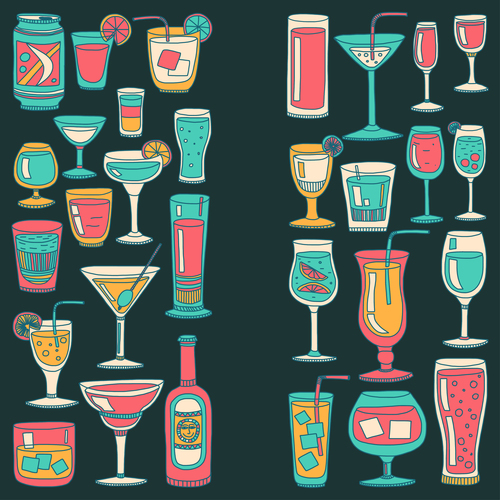 Cocktails with drank pattern illustration vector 09