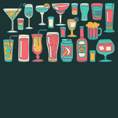 Cocktails with drank pattern illustration vector 10