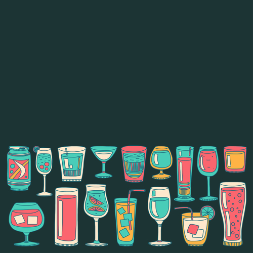 Cocktails with drank pattern illustration vector 11