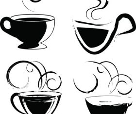Coffee cup black and white vector material