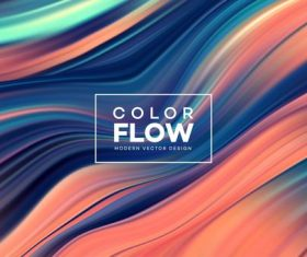 Color flow wave abstract background vector 02