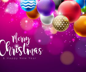 Colored christmas balls with purple new year background vector