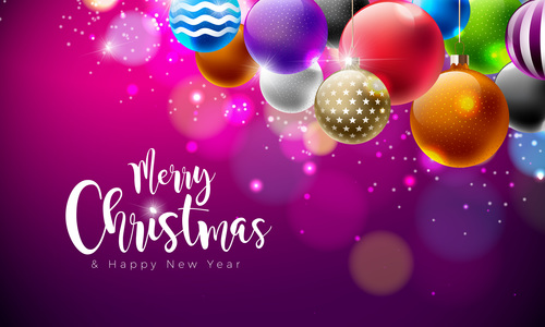 Colorful Christmas Background Design.Colored Christmas Balls With Purple New Year Background