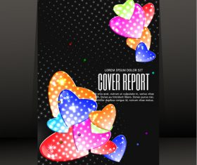 Colored heart with black report cover vector 01