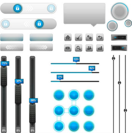 Control Buttons graphic design vectors