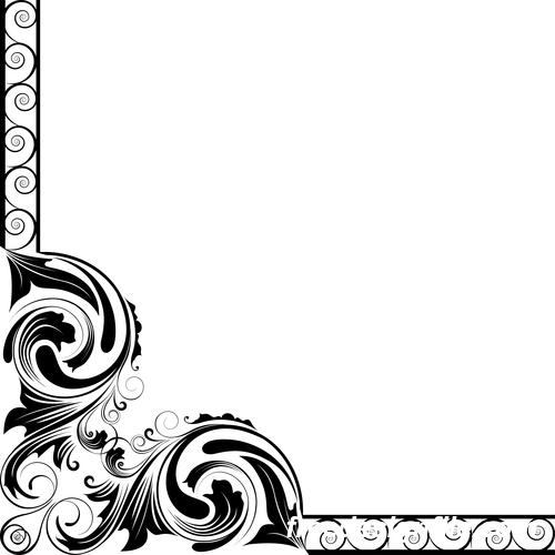 Corner ornament with border vector