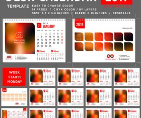 Creative desk calendar 2019 vector template 01