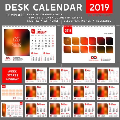 Creative desk calendar 2019 vector template 01