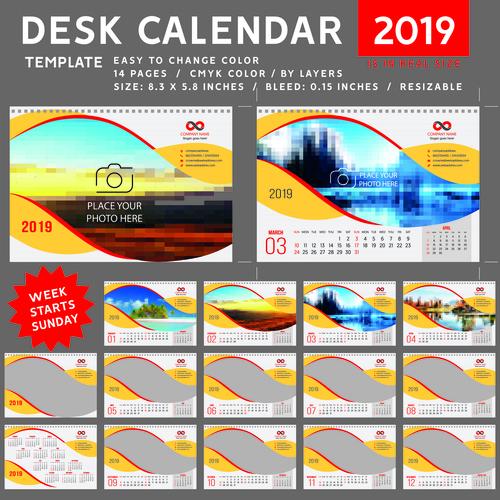 Creative desk calendar 2019 vector template 02