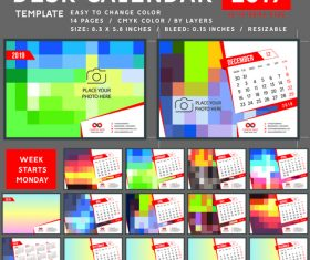Creative desk calendar 2019 vector template 03