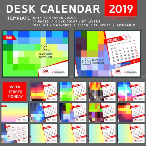 Creative desk calendar 2019 vector template 03
