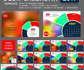 Creative desk calendar 2019 vector template 04
