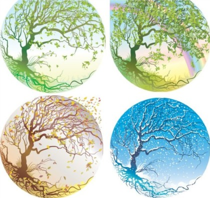 Crystal ball in four seasons trees vectors graphics