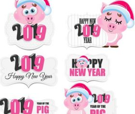 Cute 2019 new year labels vector