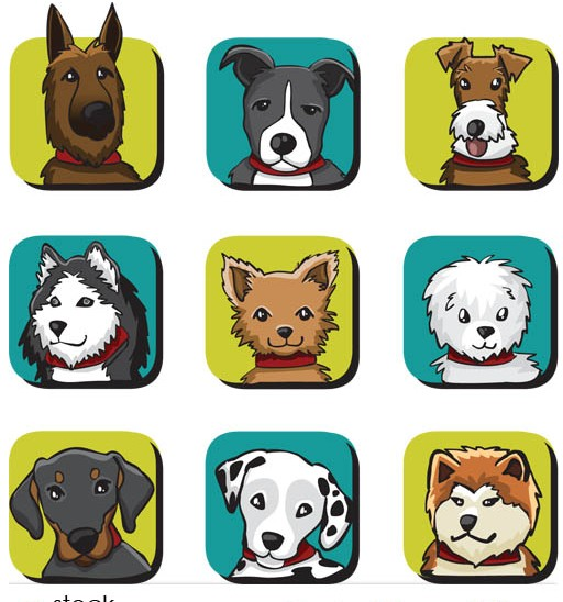 Cute Dogs art vector
