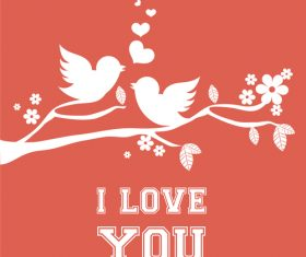 Cute bird with love vector background 01