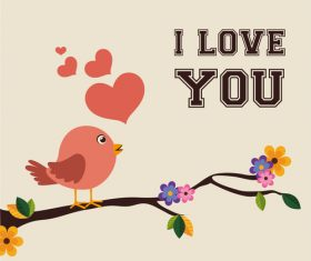 Cute bird with love vector background 02