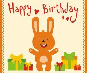 Cute cartoon animal with birthday card vector set 01