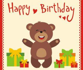 Cute cartoon animal with birthday card vector set 02