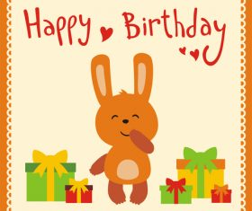 Cute cartoon animal with birthday card vector set 04