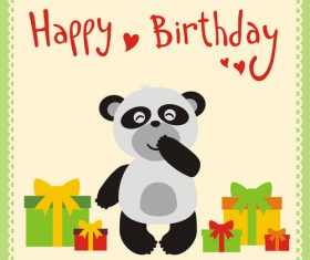 Cute cartoon animal with birthday card vector set 06
