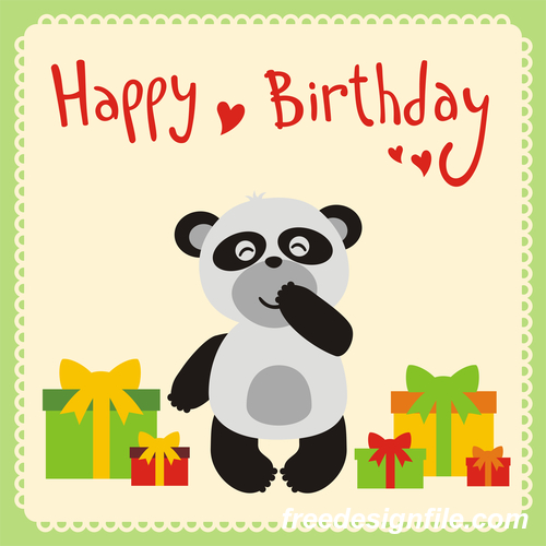 Cute Cartoon Animal With Birthday Card Vector Set 06 Free Download